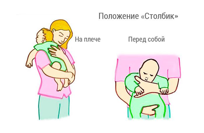 Как держать ребенка столбиком